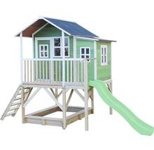 Cabane EXIT Loft 550 bois avec bac à sable, toboggan vert-thumb-3