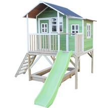 Cabane EXIT Loft 550 bois avec bac à sable, toboggan vert-thumb-4