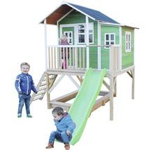 Cabane EXIT Loft 550 bois avec bac à sable, toboggan vert-thumb-1