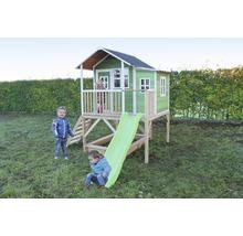 Cabane EXIT Loft 550 bois avec bac à sable, toboggan vert-thumb-0