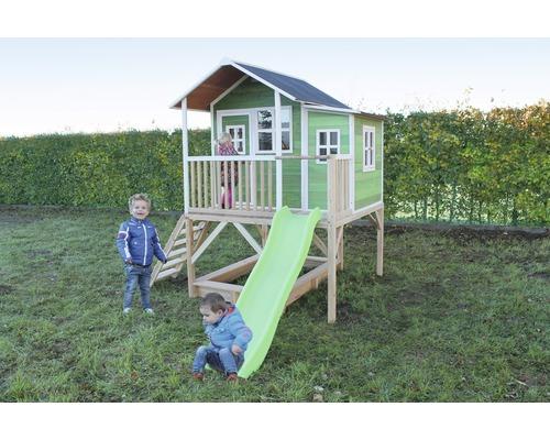 Cabane EXIT Loft 550 bois avec bac à sable, toboggan vert-0