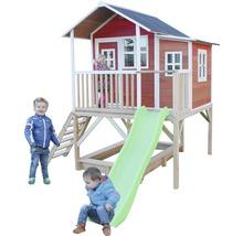 Cabane EXIT Loft 550 bois avec bac à sable, toboggan rouge-thumb-1