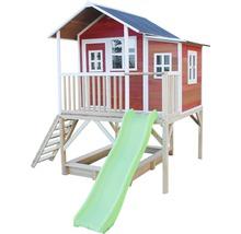 Cabane EXIT Loft 550 bois avec bac à sable, toboggan rouge-thumb-2