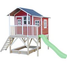 Cabane EXIT Loft 550 bois avec bac à sable, toboggan rouge-thumb-3