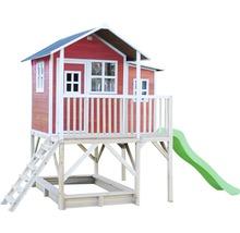 Cabane EXIT Loft 550 bois avec bac à sable, toboggan rouge-thumb-4