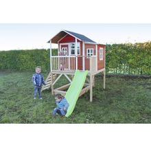 Cabane EXIT Loft 550 bois avec bac à sable, toboggan rouge-thumb-0