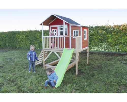 Cabane EXIT Loft 550 bois avec bac à sable, toboggan rouge-0