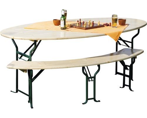 Ensemble Table Et Bancs Pliants Ovale épicéa 180 Cm 3 Pièces Naturel