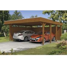 Carport pour deux véhicules Skanholz Friesland 557 x 555 cm, noyer-thumb-0