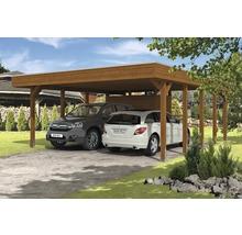Carport pour deux véhicules Skanholz Friesland 557 x 708 cm, noyer-thumb-0
