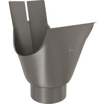 Naissance de gouttière Zambelli acier rond brun sépia RAL 8014 DN 127 mm écoulement 80 mm-thumb-0
