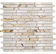 Mosaïque en pierre naturelle Quadrat golden cream poli 30.5x32.2cm-thumb-0