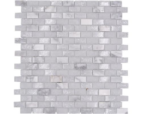 Mosaïque de verre avec pierre naturelle Brick XICB1111 mélange de blanc 30x28.5 cm
