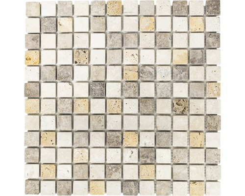 Mosaïque en pierre naturelle Quadrat Travertin XNT46380 mat 30.5x30.5cm