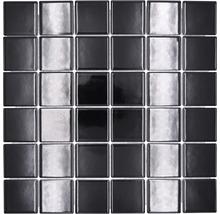 Mosaïque céramique Quadrat uni CD190 noir brillant 30x30cm-thumb-0