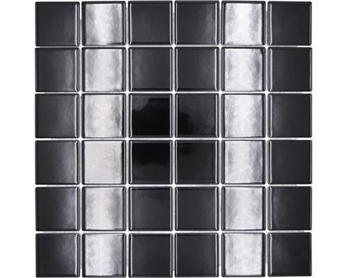 Mosaïque céramique Quadrat uni CD190 noir brillant 30x30cm-0