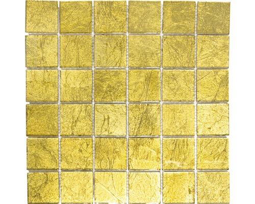 Mosaïque de verre Quadrat Crystal uni gold structure 30x30cm