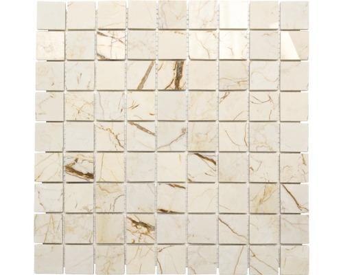 Mosaïque en pierre naturelle Quadrat golden cream poli 30.5x30.5cm