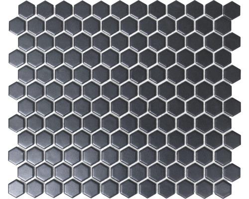 Mosaique En Ceramique mosaïque céramique hexagon hx065 uni noir mat 26x30 cm - hornbach