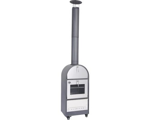 Poêle à bois Tenneker® TC-Italy avec cheminée et thermomètre gris argent