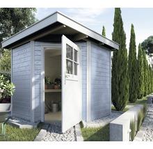 Chalet de jardin d''angle en madriers weka 229, avec plancher, 209x205cm, gris-thumb-0
