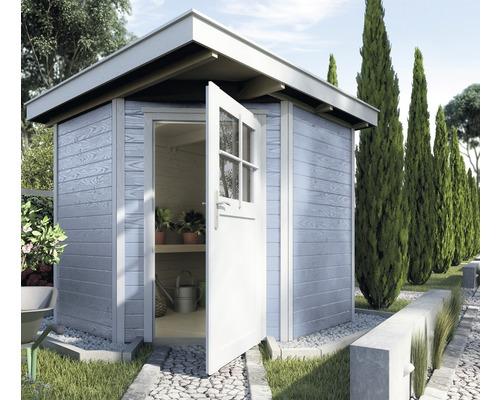 Chalet de jardin d\'angle en madriers weka 229, avec plancher, 209x205 cm,  gris