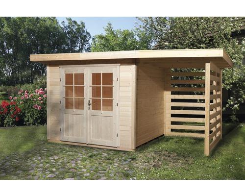 Chalet de jardin weka 179 avec emplacement de stockage Taille 1 385 x 240  cm, naturel