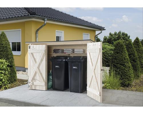 Garage à vélos, armoire de jardin weka avec étagère, 205x84cm, nature