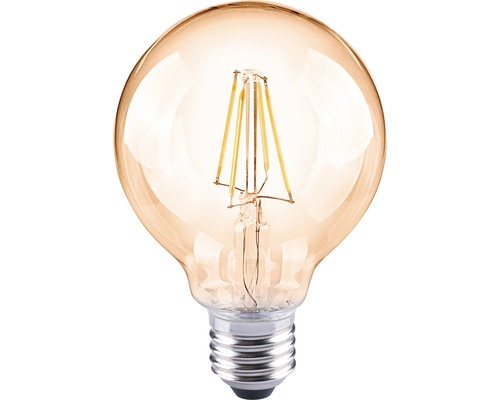 FLAIR Lampe globe LED E27/4W avec filament incandescent ambre G80