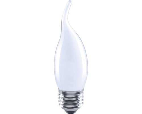 FLAIR Lampe bougie LED flamme coup de vent E27/4W avec filament incandescent mat/blanc CL35-0