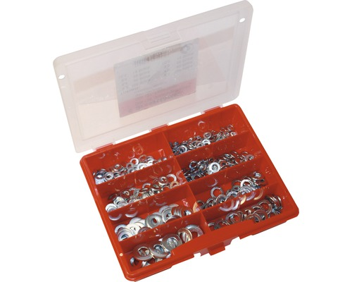 Assortiment de rondelles DIN 125, DIN 127 zinguées, 380pces-0