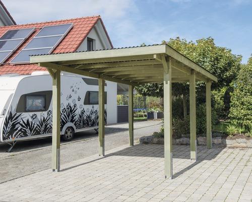 Carport pour véhicule Vertika toit PVC 301x504 cm traité en autoclave par imprégnation