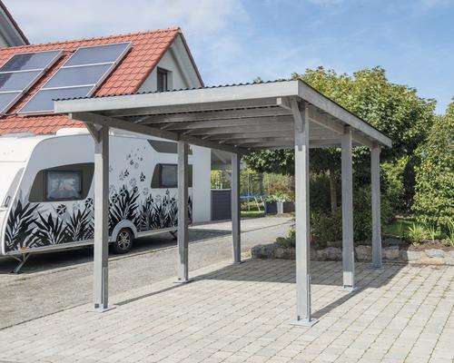 Carport pour véhicule Vertika toit aluminium 301x504 cm gris-0