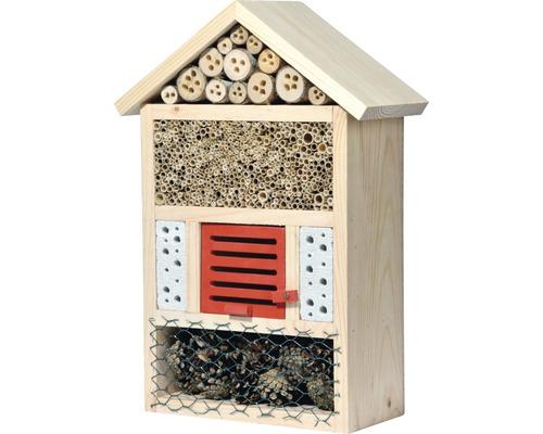 Hôtel à insectes pour abeilles sauvages 29x12.5x42 cm, naturel