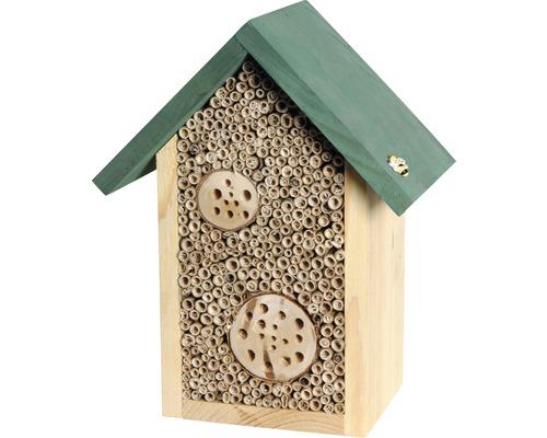 Hôtel à insectes abeilles sauvages 22.5x14x28.5 cm, naturel-0