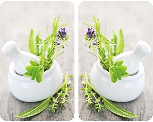 2 couvre-plaques de cuisson universels Jardin d''herbes aromatiques