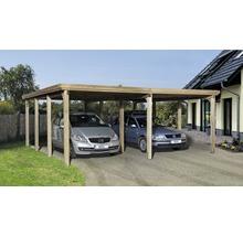 Carport double weka Optima 603x612cm, traité en autoclave par imprégnation-thumb-0