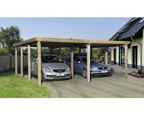 Carport double weka Optima 603x612cm, traité en autoclave par imprégnation-0