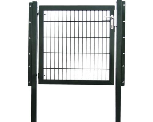 Portail à un vantail 100x80cm, avec poteaux à sceller dans le béton, vert