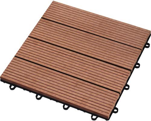 Dalle à clipser WPC 30 x 30 cm, brun