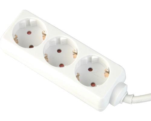 Bloc multiprise 3 emplacements 3G1,5 blanc 1,4m