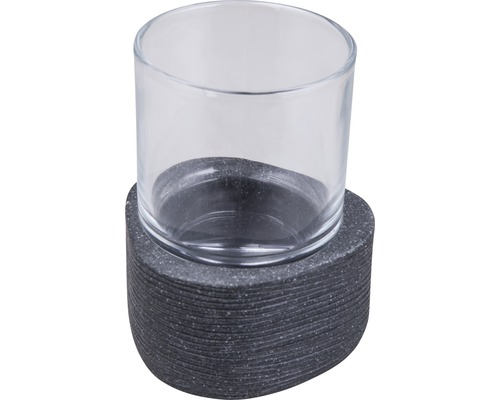 Gobelet pour brosses à dents Form & Style Dreieck noir aspect pierre-0