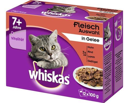 Nourriture humide pour chats, Whiskas 7+ sélection de viande 12x100g