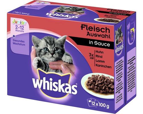 Nourriture humide pour chats, Whiskas Junior sélection de viande 12x100g