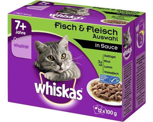 Nourriture pour chats humide, Whiskas 7+ sélection de poisson & de viande 12x100g