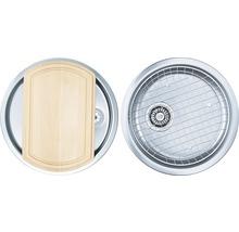 """Kit évier CENTA Zena 60 acier inoxydable lisse avec soupape à bouchon à grille 3 ½""""-thumb-0"""