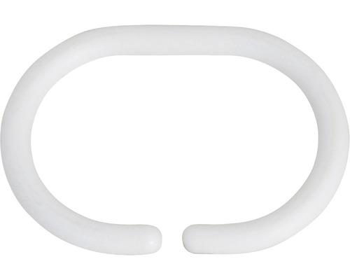 Anneaux en plastique pour rideau de douche blanc