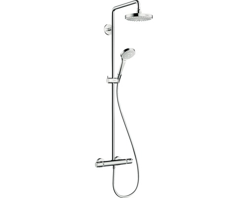 Duschsystem hansgrohe Croma Select S Showerpipe 180 2jet 27253400 chrom/weiß mit Thermostat