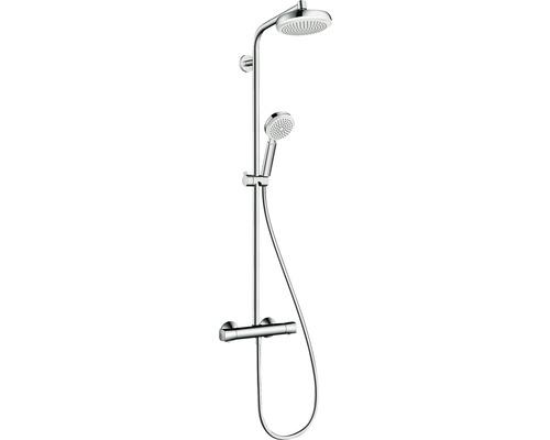 Duschsystem hansgrohe Crometta Showerpipe 160 1jet 27264400 chrom/weiß mit Thermostat