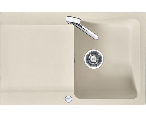 "Spüle Eurodomo Capri 45 Eurostone granit-beige inkl. Siebkorb-Excenterventil 3 ½"""